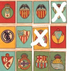 Cromos de Fútbol: ESCUDOS DE FUTBOL AÑOS 40 BARÇA, MADRID, AT. AVIACION... A ELEGIR. Lote 26276201