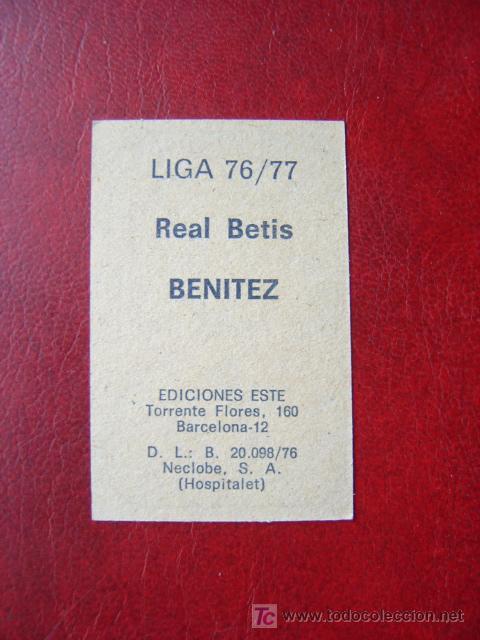 Cromos de Fútbol: BENITEZ - REAL BETIS - EDICIONES ESTE 1976-1977 - 76-77 - Foto 2 - 35234667