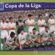 Cromos de Fútbol: FICHA DEL REAL MADRID CLUB DE FÚTBOL. AÑO 1996. 73 ALINEACIÓN 1984 1985. REAL MADRID ORO. . Lote 20937585
