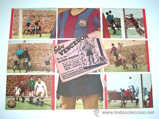 SOBRE ORIGINAL + 9 CROMOS BARCELONA C.F.,FÚTBOL CROMOS VENCEDOR, ED BRUGUERA, CRISOL, AÑO 1944-45 (Coleccionismo Deportivo - Álbumes y Cromos de Deportes - Cromos de Fútbol)