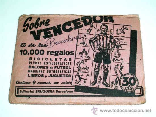 Cromos de Fútbol: Sobre original + 9 cromos Barcelona C.F.,Fútbol Cromos Vencedor, Ed Bruguera, Crisol, año 1944-45 - Foto 2 - 27605829