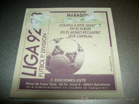 Cromos de Fútbol: CROMO COLOCA MARADONA SEVILLA CROMOS ALBUM EDICIONES ESTE LIGA FUTBOL 1992 1993 92 93 - Foto 2 - 27115446