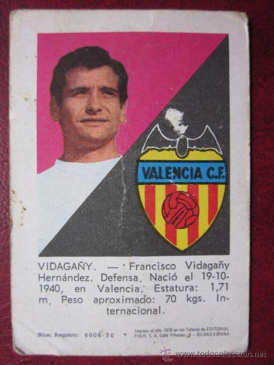 VALENCIA C.F. - ED. FHER - 1970-1971 70-71 - VIDAGANY (Coleccionismo Deportivo - Álbumes y Cromos de Deportes - Cromos de Fútbol)