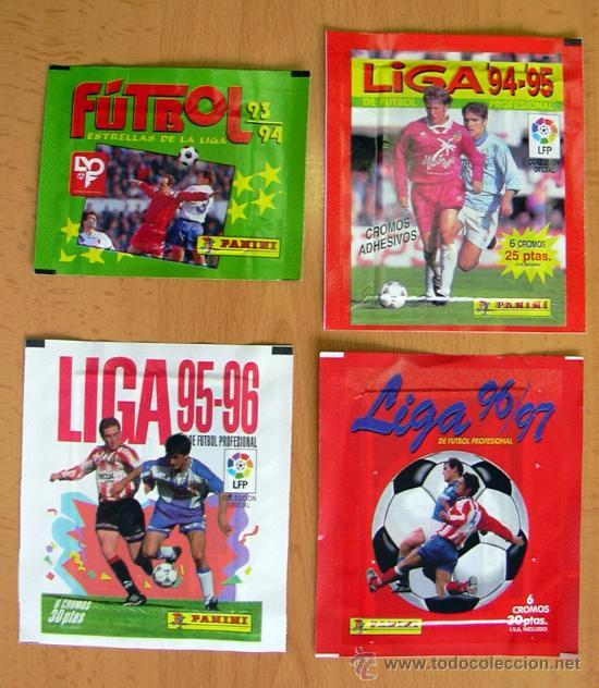 4 SOBRES SIN ABRIR DE PANINI - TEMPORADAS 93-94, 94-95, 95-96, 96-97 (Coleccionismo Deportivo - Álbumes y Cromos de Deportes - Cromos de Fútbol)