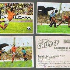 Cromos de Fútbol: LOTE DE CROMOS. CROMOS SUELTOS: 1,00 €. JOHAN CRUYFF. ASÍ JUEGO AL FÚTBOL, CROPAN, 1974.. Lote 40363966