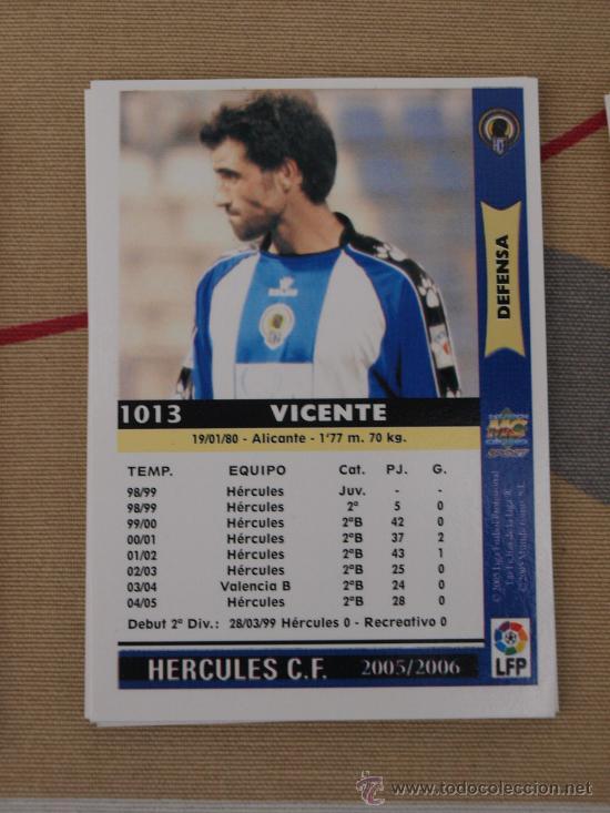 1013 VICENTE HERCULES MUNDICROMO FICHAS LIGA 2005-06 05-06 NUEVO (Coleccionismo Deportivo - Álbumes y Cromos de Deportes - Cromos de Fútbol)