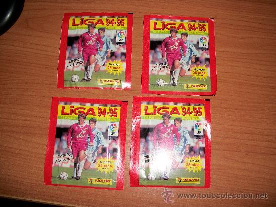 4 SOBRES DE CROMOS SIN ABRIR DE LA COLECCION LIGA 1994 1995 ( 94 - 95 ) SOBRE DE PANINI (Coleccionismo Deportivo - Álbumes y Cromos de Deportes - Cromos de Fútbol)