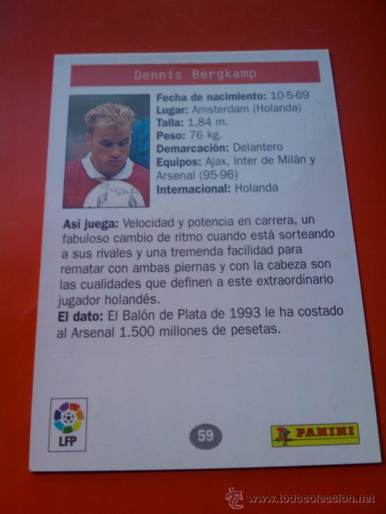 Cromos de Fútbol: 59 - BERGKAMP (ARSENAL) ESTRELLAS EUROPEAS 1996 PANINI CROMOS 96 - - Foto 2 - 30450832