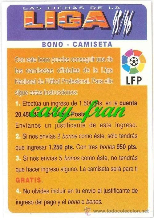 MUNDICROMO 1995 1996 95 96 BONO CAMISETA GRATIS ROJO (Coleccionismo Deportivo - Álbumes y Cromos de Deportes - Cromos de Fútbol)
