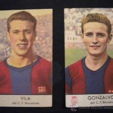 Cromos de Fútbol: CROMOS DE GONZALVO III Y VILA DEL CLUB DE FUTBOL BARCELONA ,CASTELLBLANCH.. Lote 33289323