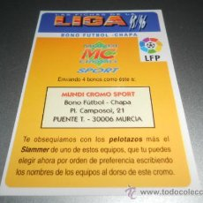 Cromos de Fútbol: BONO FUTBOL CHAPA CROMOS ALBUM MUNDICROMO FICHAS LIGA FUTBOL 1995 1996 95 96. Lote 164992169