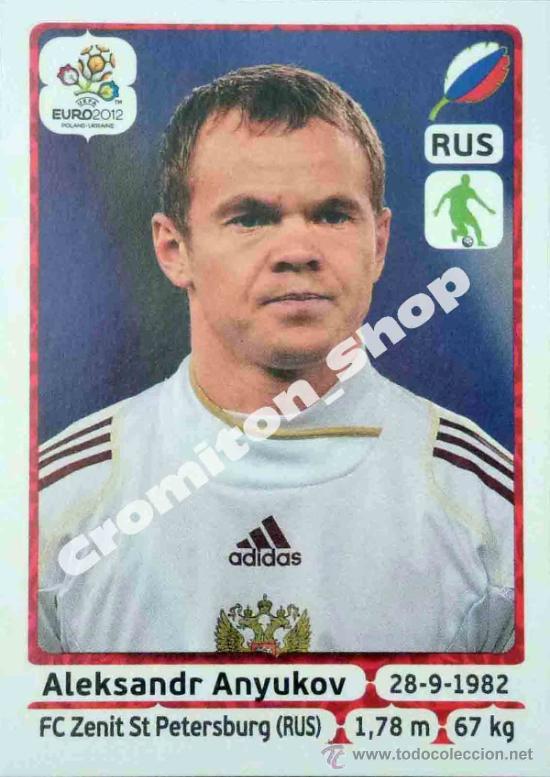 Nº 116 ALEKSANDR ANYUKOV EURO 12 2012 POLAND UKRAINE PANINI POLONIA UCRANIA (Coleccionismo Deportivo - Álbumes y Cromos de Deportes - Cromos de Fútbol)