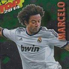 Cromos de Fútbol: MARCELO TOP BRILLO LISO VERDE 581 REAL MADRID MUNDICROMO 13 14 FICHAS QUIZ LIGA 2014. Lote 43840206