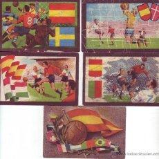 Cromos de Fútbol: PARTIDOS INTERNACIONALES, CHOCOLATES TUPINAMBA. 5 CROMOS. Lote 33457012