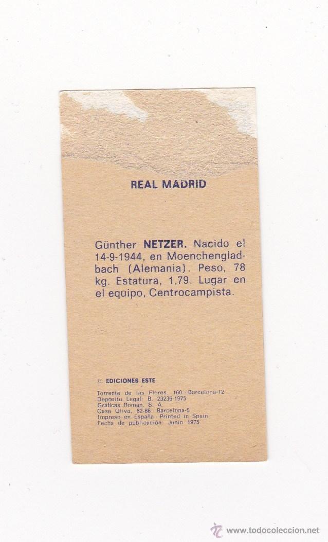 Cromos de Fútbol: EDICIONES ESTE 1975-1976 - NETZER (REAL MADRID) LIGA 75-76 - Foto 2 - 40745956