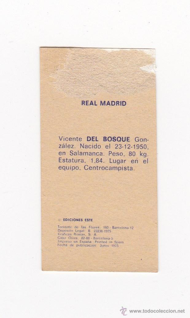 Cromos de Fútbol: EDICIONES ESTE 1975-1976 - DEL BOSQUE (REAL MADRID) LIGA 75-76 - Foto 2 - 40745982
