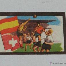 Cromos de Fútbol: CROMO PARTIDOS INTERNACIONALES SUIZA 0 - ESPAÑA 0 , CHOCOLATES TUPINAMBA 1950, . Lote 40971399