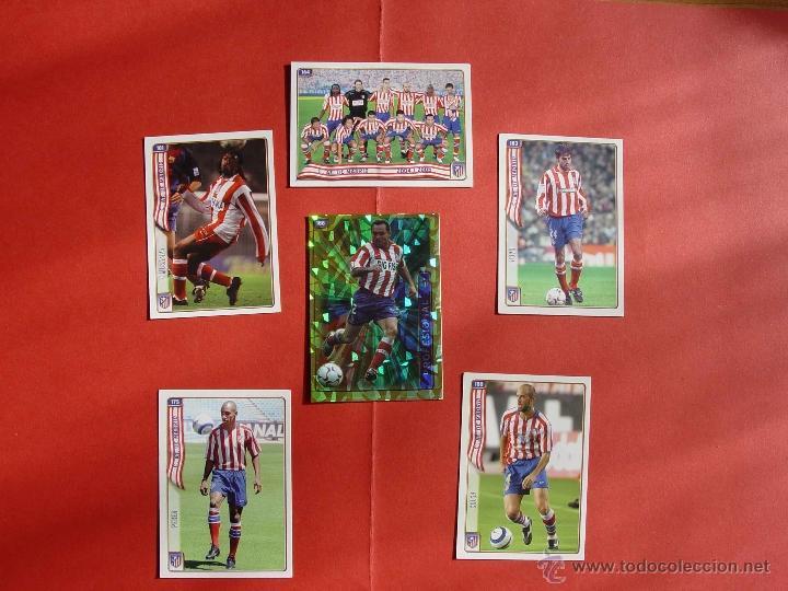 LOTE 6 CROMOS AT. MADRID: PLANTILLA, HIMNO, PEREA, SERGI, MUSAMPA... (MUNDICROMO; LFP, 2004-05) (Coleccionismo Deportivo - Álbumes y Cromos de Deportes - Cromos de Fútbol)