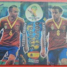 Cromos de Fútbol: 414 XAVI - INIESTA DOUBLE TROUBLE CARD ADRENALYN XL FIFA WORLD CUP BRASIL 2014 PANINI BRAZIL. Lote 43585393