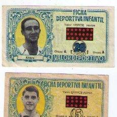 Cromos de Fútbol: FICHA DEPORTIVA INFANTIL. LOTE DE 4 CROMOS.. Lote 19400028