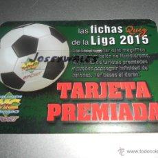 Cromos de Fútbol: BONO TARJETA PREMIADA BALON VERSION LETRAS ROJAS PR CROMOS MUNDICROMO LIGA QUIZ 2014 2015 14 15. Lote 44674879