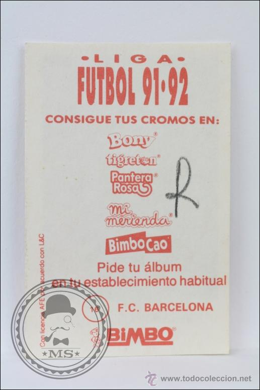 Cromo de Fútbol de Bimbo  Liga 91-92 - 16  FC Barcelona  Juan Carlos  Rodríguez - 5,5 x 3,5 Cm