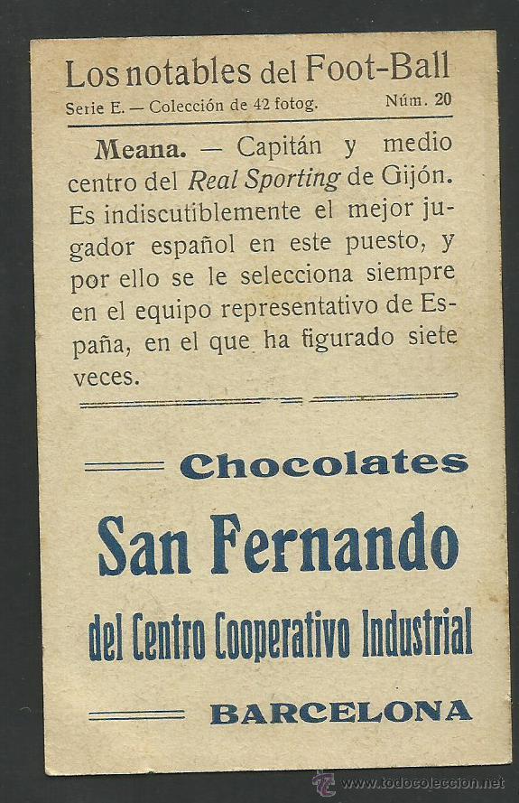 Cromos de Fútbol: MEANA - REAL SPORTING DE GIJON - LOS NOTABLES DEL FOOTBALL - (CD-855) - Foto 2 - 45237407