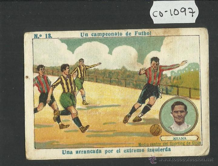 MEANA - SPORTING DE GIJON - UN CAMPEONATO DE FUTBOL NUM· 12 - CHOCOLATE AMATLLER (CD-1097) (Coleccionismo Deportivo - Álbumes y Cromos de Deportes - Cromos de Fútbol)