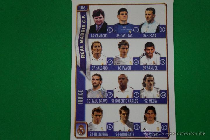 CROMO-CARD DE FÚTBOL:ÍNDICE DEL REAL MADRID,Nº106,LIGA 2004-2005/04-05,DE MUNDICROMO (Coleccionismo Deportivo - Álbumes y Cromos de Deportes - Cromos de Fútbol)