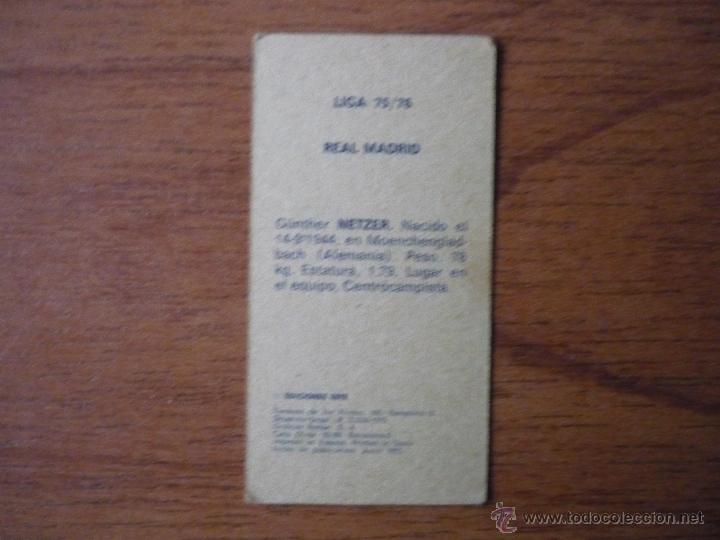 Cromos de Fútbol: CROMO LIGA ESTE 75 76 NETZER (REAL MADRID) - NUNCA PEGADO - 1975 1976 - Foto 2 - 46549133