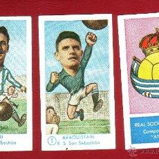 Cromos de Fútbol: FÚTBOL CAMPEONATO 1958-1959 - GRÁFICAS EXCELSIOR - REAL SOCIEDAD - 3 CROMOS. Lote 40097336