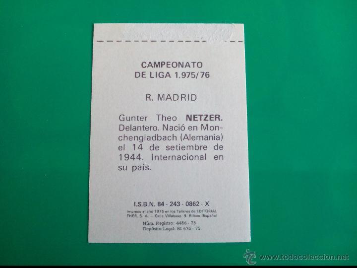 Cromos de Fútbol: NETZER (REAL MADRID) CROMO EDITORIAL FHER 1975 1976 LIGA 75 76 - Foto 2 - 50063927