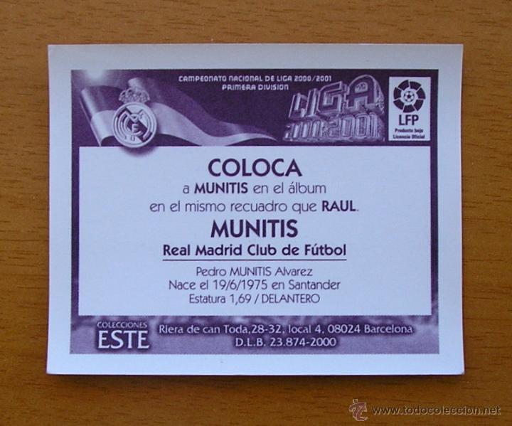 Cromos de Fútbol: Real Madrid - Munitis sin publicidad - coloca - Ediciones Este 2000-2001, 00-01 - nunca pegado - Foto 2 - 51328165