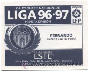 Cromos de Fútbol: LIGA ESTE 1996 1997 FUTBOL CROMOS VALENCIA - FERNANDO - Foto 2 - 51566554