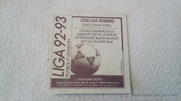 Cromos de Fútbol: 92-93 ESTE. JOSE LUIS ROMERO COLOCA CADIZ - Foto 2 - 51587519