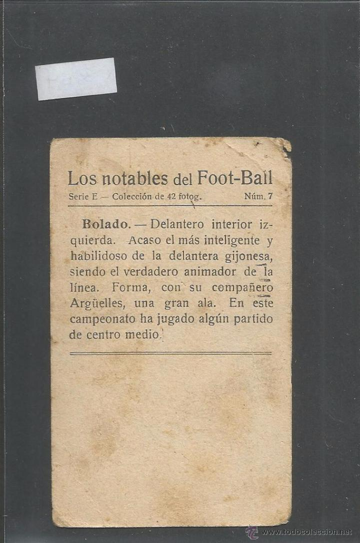 Cromos de Fútbol: BOLADO - GIJON - LOS NOTABLES DEL FOOTBALL - VER REVERSO - (V- 3554) - Foto 2 - 52716529
