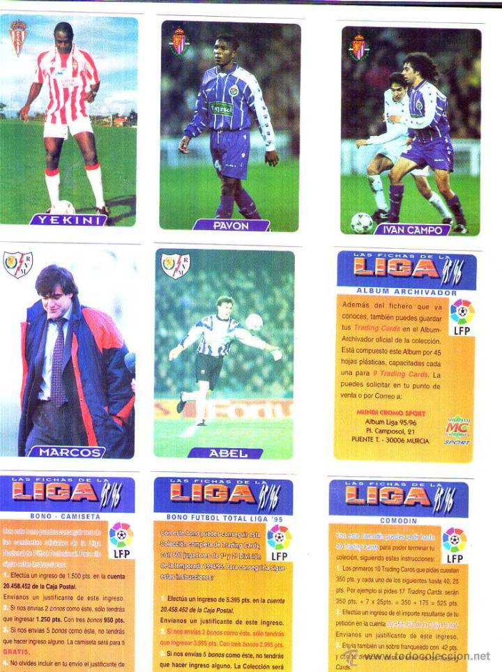 FÚTBOL CROMO BONO ÁLBUM ARCHIVADOR MUNDICROMO 1995 1996 (Coleccionismo Deportivo - Álbumes y Cromos de Deportes - Cromos de Fútbol)