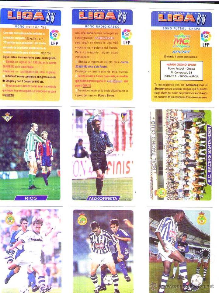 FÚTBOL CROMO BONO FÚTBOL CHAPA MUNDICROMO 1995 1996 (Coleccionismo Deportivo - Álbumes y Cromos de Deportes - Cromos de Fútbol)