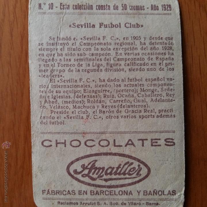 Cromos de Fútbol: CROMO FUTBOL CHOCOLATES AMATLLER 1929. SEVILLA F C - Foto 2 - 54383696