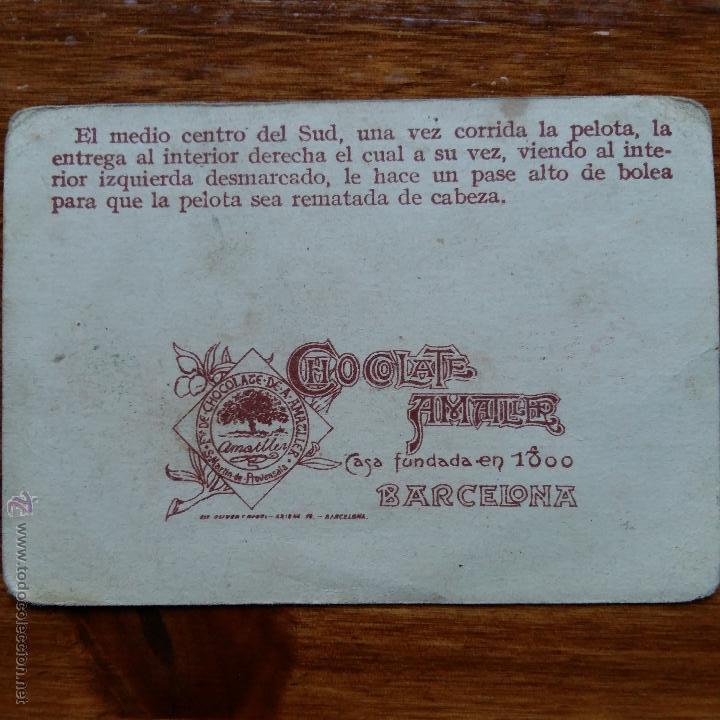 Cromos de Fútbol: ANTIGUO CROMO CHOCOLATES AMATLLER. UN CAMPEONATO DE FUTBOL. POLO DELANTERO DEL FORTUNA F C VIGO - Foto 2 - 54415171