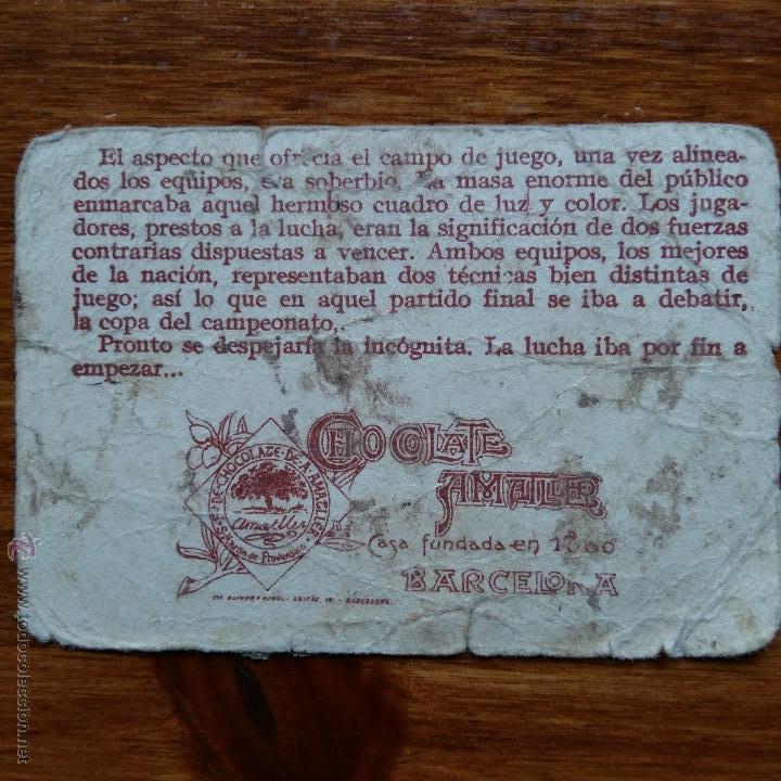 Cromos de Fútbol: ANTIGUO CROMO CHOCOLATES AMATLLER. UN CAMPEONATO DE FUTBOL. MONJARDIN DELANTERO R C MADRID - Foto 2 - 54415188