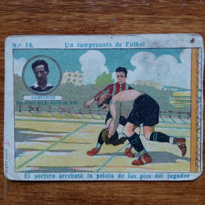 ANTIGUO CROMO CHOCOLATES AMATLLER. UN CAMPEONATO DE FUTBOL. ECHEVESTE DELANTERO R UNION IRUN (Coleccionismo Deportivo - Álbumes y Cromos de Deportes - Cromos de Fútbol)