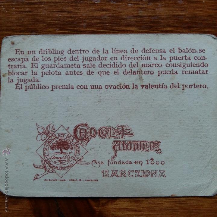 Cromos de Fútbol: ANTIGUO CROMO CHOCOLATES AMATLLER. UN CAMPEONATO DE FUTBOL. ECHEVESTE DELANTERO R UNION IRUN - Foto 2 - 54415206
