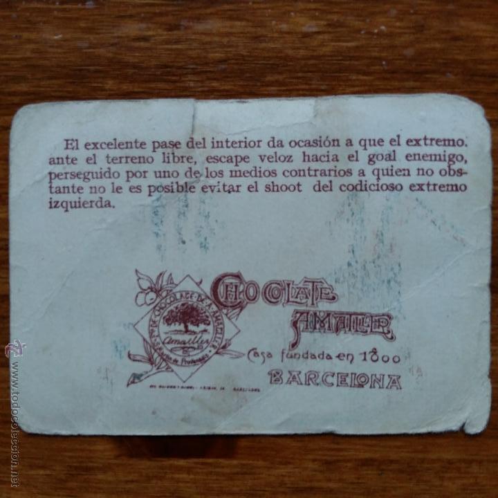 Cromos de Fútbol: ANTIGUO CROMO CHOCOLATES AMATLLER. UN CAMPEONATO DE FUTBOL. TRALLERO DEFENSA DEL MARTINENÇ F C - Foto 2 - 54415256