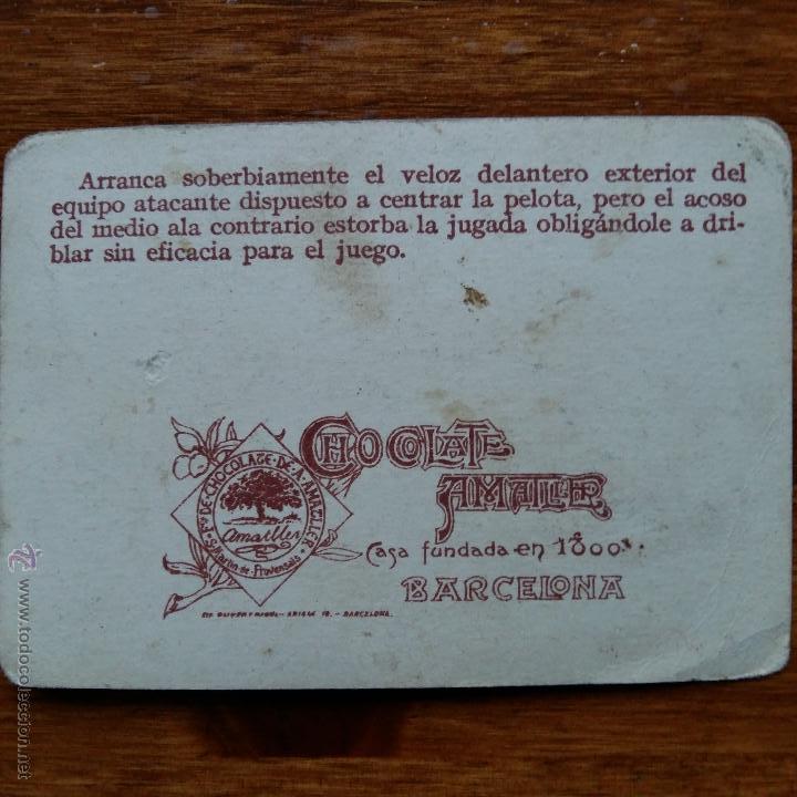 Cromos de Fútbol: ANTIGUO CROMO CHOCOLATES AMATLLER. UN CAMPEONATO DE FUTBOL. MEANA MEDIO CENTRO SPORTING DE GIJON - Foto 2 - 54415343