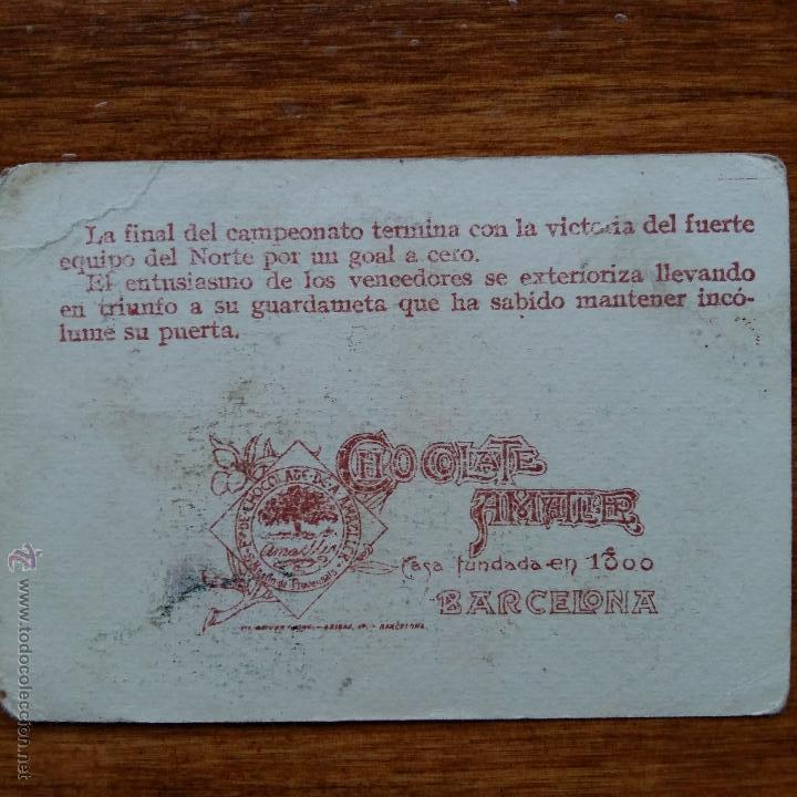 Cromos de Fútbol: ANTIGUO CROMO CHOCOLATES AMATLLER. UN CAMPEONATO DE FUTBOL. MANZANEDO DEFENSA R C MADRID - Foto 2 - 54415438
