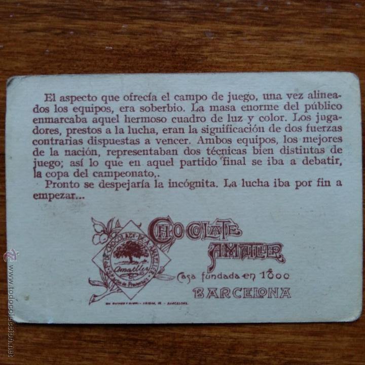 Cromos de Fútbol: ANTIGUO CROMO CHOCOLATES AMATLLER. UN CAMPEONATO DE FUTBOL. MONJARDIN DELANTERO R C MADRID - Foto 2 - 54415453