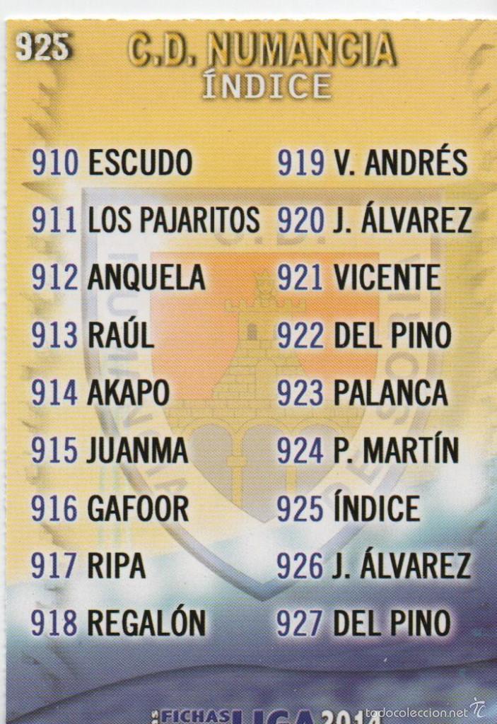 925.- INDICE NUMANCIA - QUIZ GAME 2014 (MUNDICROMO 2013/14) MUNDICROMO (Coleccionismo Deportivo - Álbumes y Cromos de Deportes - Cromos de Fútbol)
