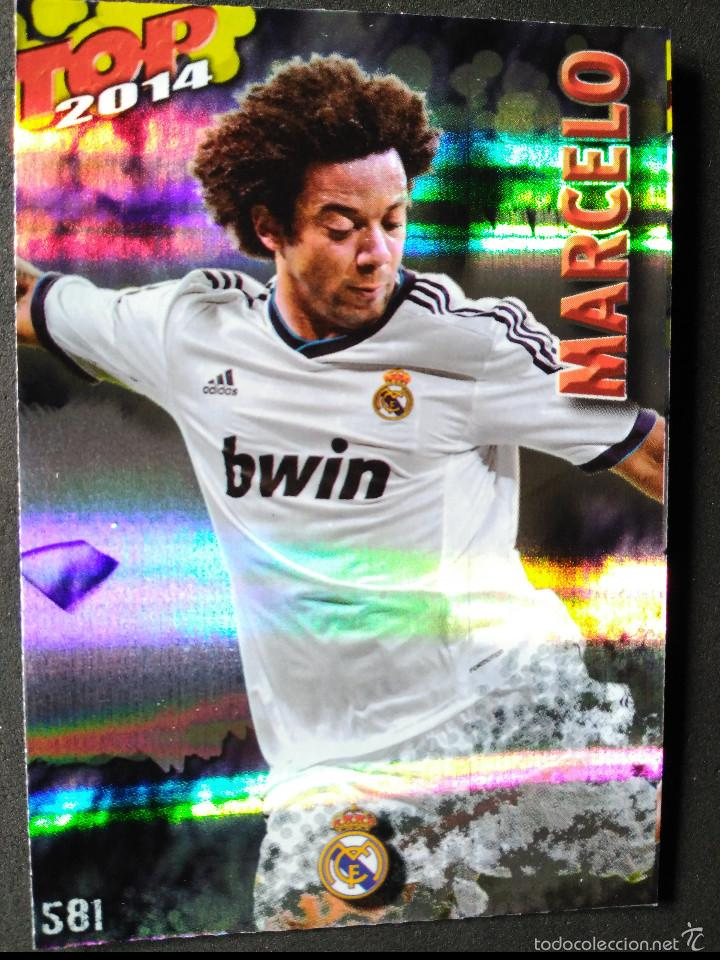 581 MARCELO - REAL MADRID - TOP BRILLO RAYAS AZUL - MUNDICROMO - FICHAS QUIZ LIGA 2014 14 (Coleccionismo Deportivo - Álbumes y Cromos de Deportes - Cromos de Fútbol)
