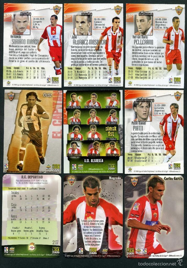 Cromos de Fútbol: 9 FICHAS DIFERENTES DE LA LIGA 2008 09 - COLECCION OFICIAL DE TRADING CARDS DE MUNDI CROMO - LOTE 11 - Foto 2 - 55805657